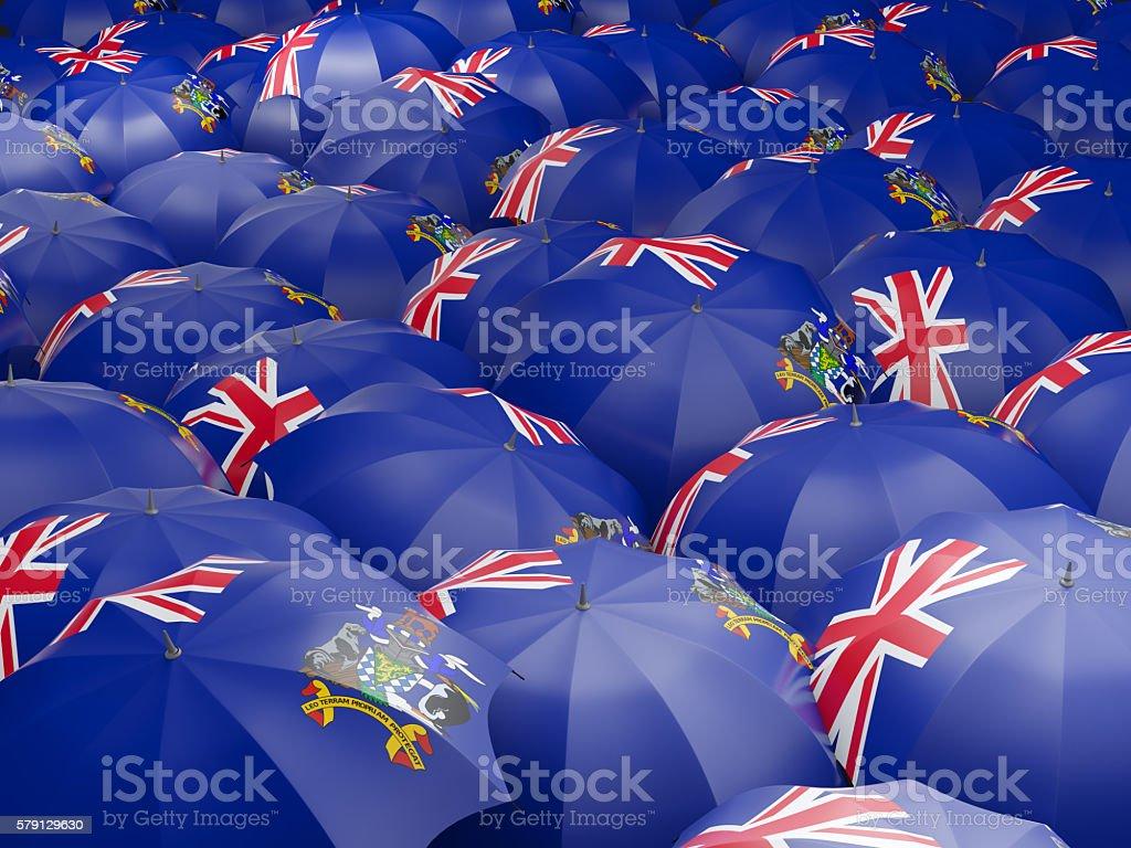 Umbrellas with flag of south georgia stock photo
