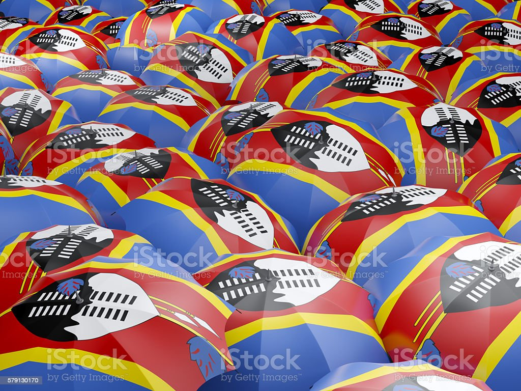 Umbrellas with flag of swaziland stock photo