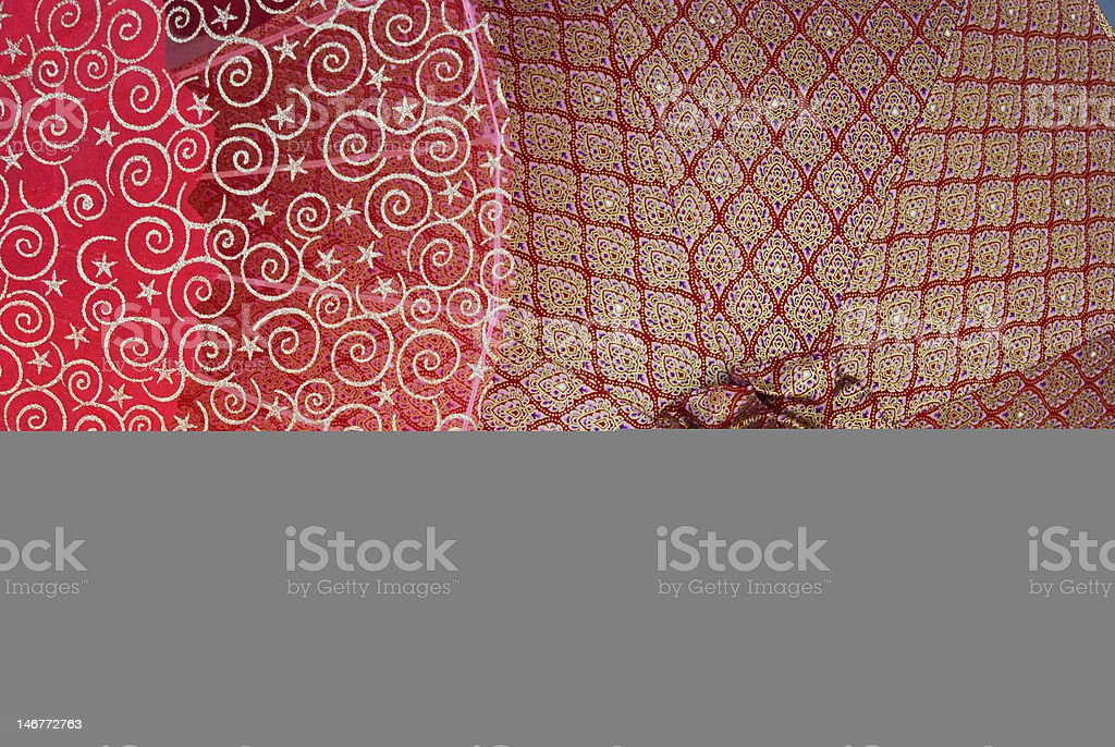 Umbrellas with traditional Thai patterns. stock photo