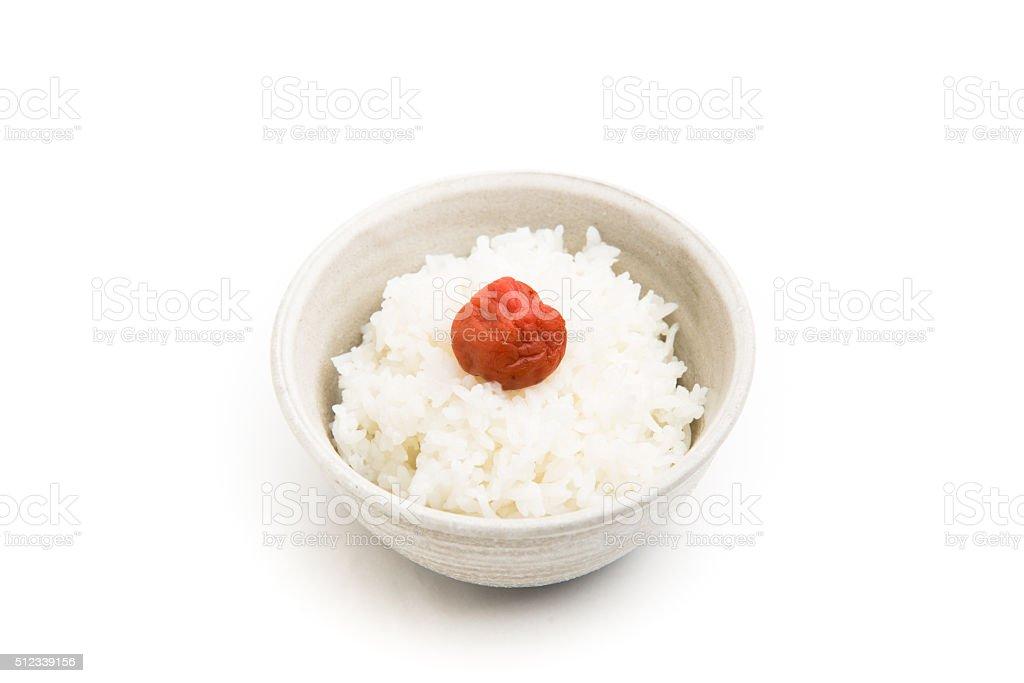 umeboshi on rice stock photo