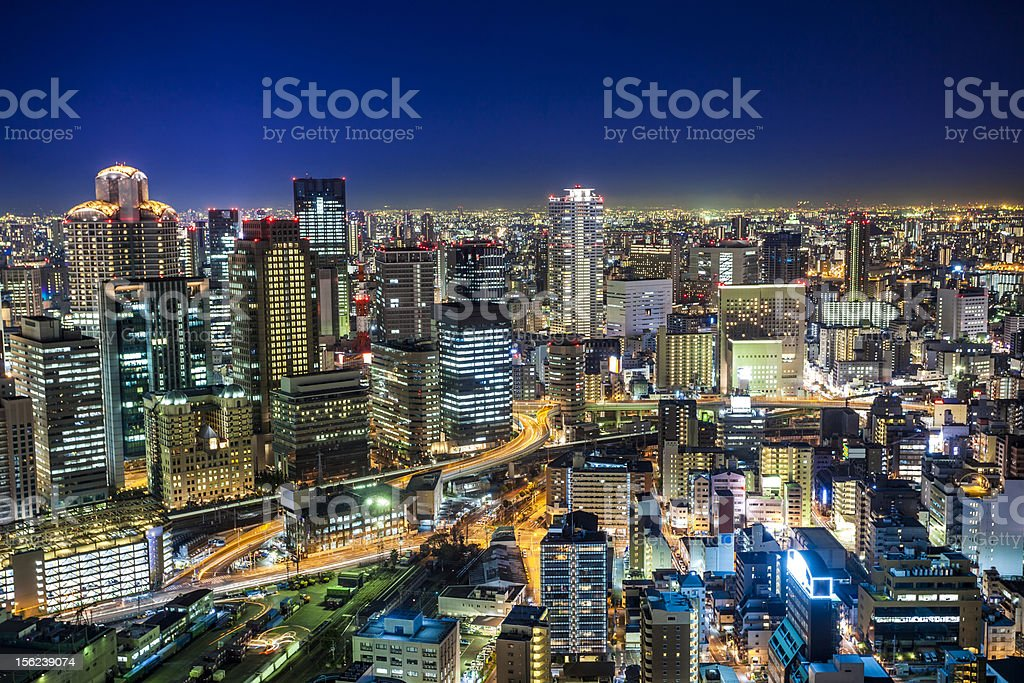 Umeda Osaka by Night, Japan stock photo