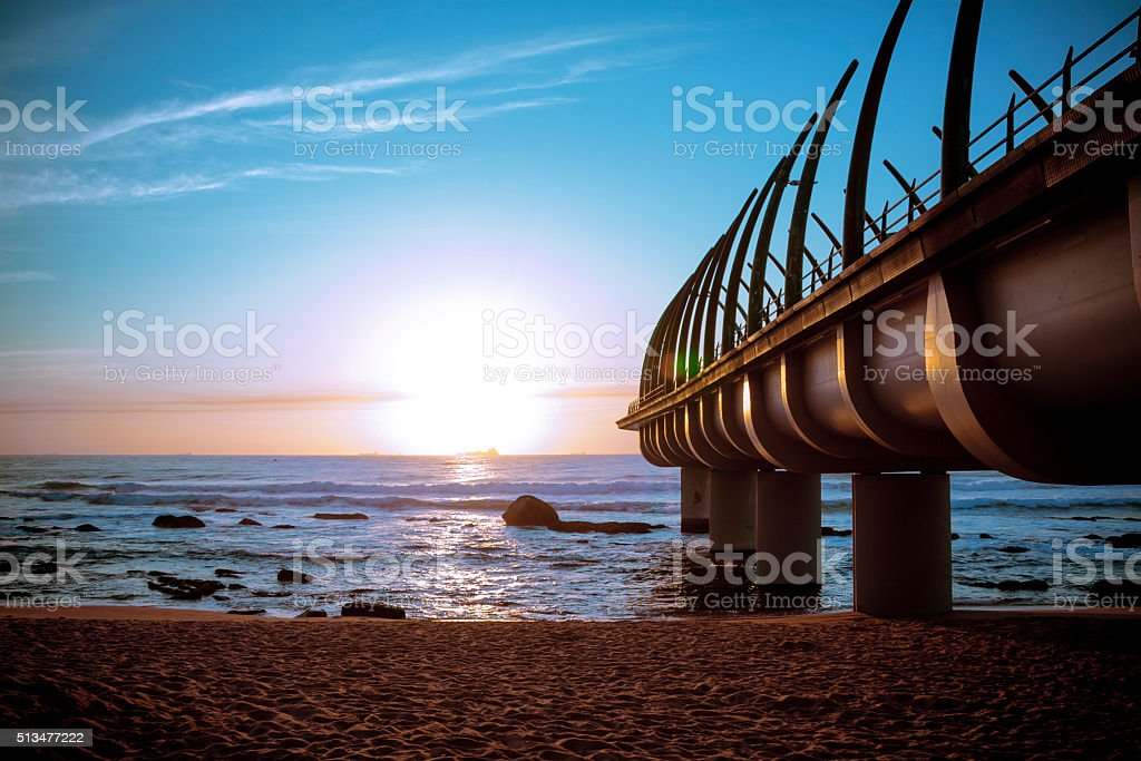 Umhlanga Pier in Durban South Africa in Sunset stock photo