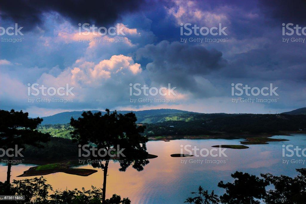 Umiam lake at Shillong stock photo