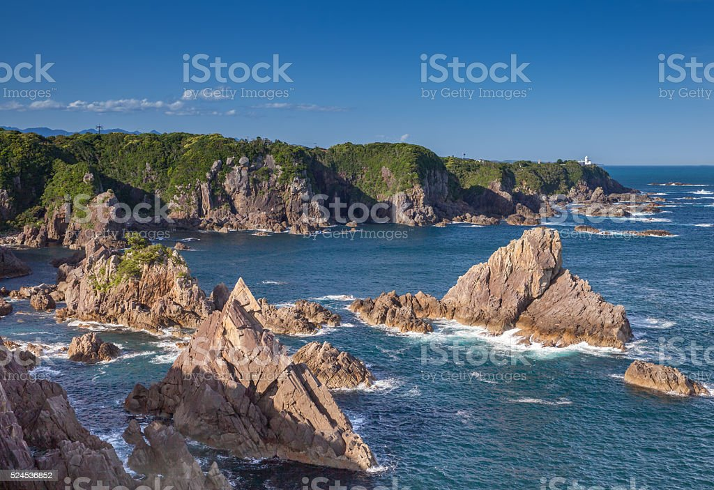 Umikongo , Big rocks line up in Kashinozaki sea stock photo