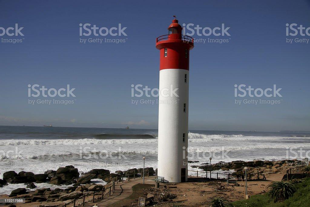 Umlanga Rocks lighthouse, South Africa stock photo