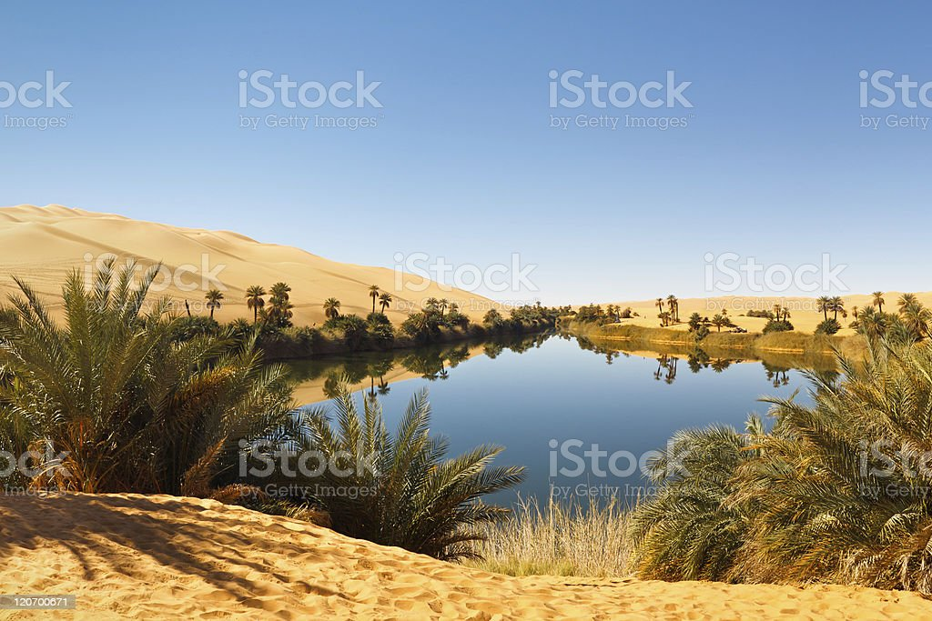 Umm al-Ma Lake - Desert Oasis, Sahara, Libya stock photo