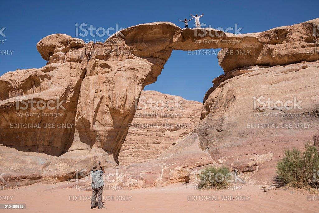 Umm Fruth Arch in the Wadi Rum desert stock photo