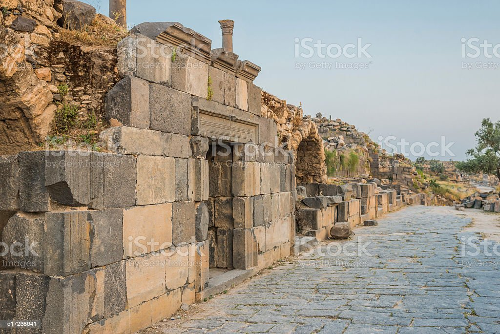 Umm Qais gadara romans ruins Jordan stock photo