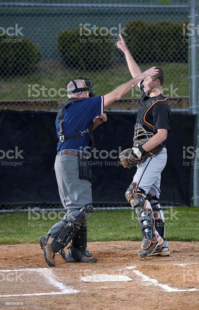 Umpire Ejecting Catcher from the Baseball Game stock photo