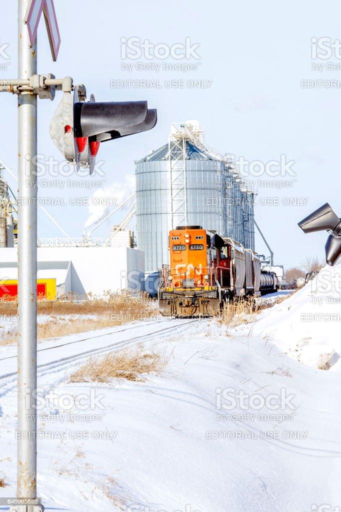 Un train à Saint-Hyacinthe stock photo