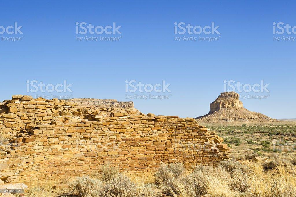 Una Vida Ruins - Chaco Culture National Historical Park stock photo