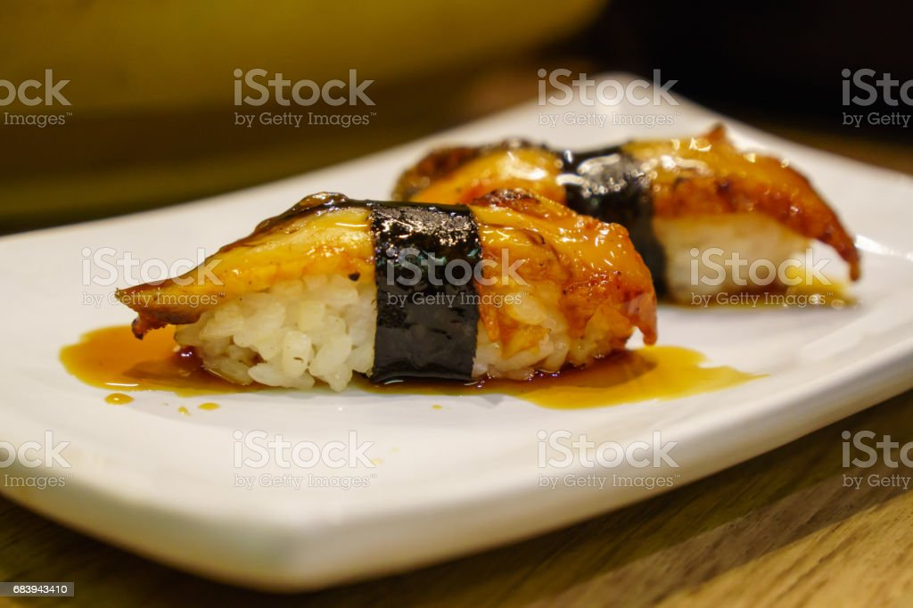 Unagi sushi eel Japanese food stock photo