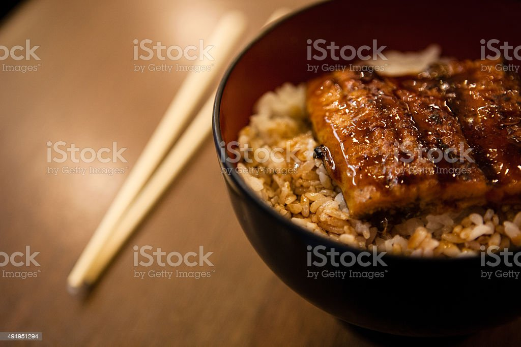 unagi with rice stock photo