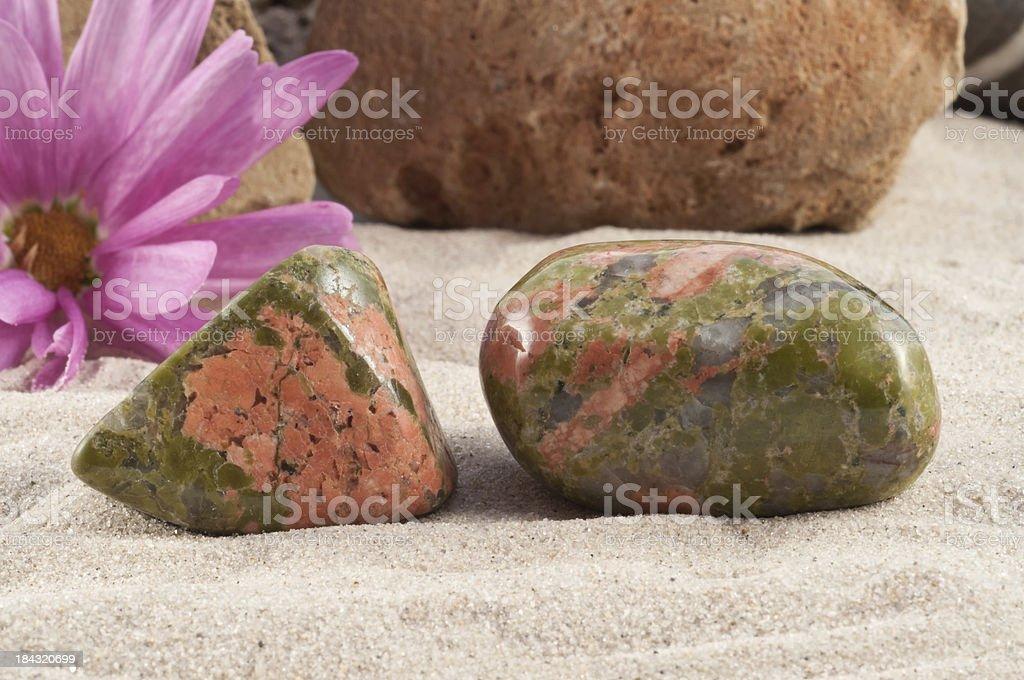 Unakite/ Epidote - half precious stone. guaranteed authentic stock photo