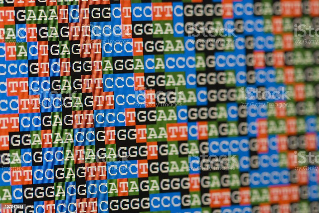 Unaligned DNA sequences as shown on an LCD screen stock photo