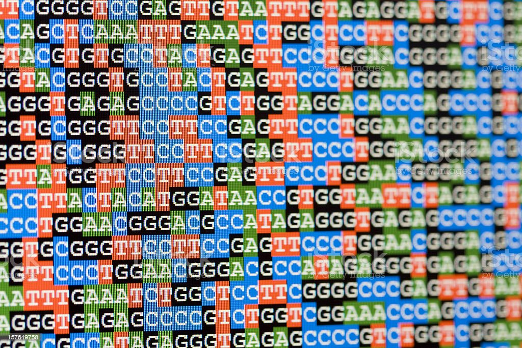 Unaligned DNA sequences viewed on LCD screen stock photo