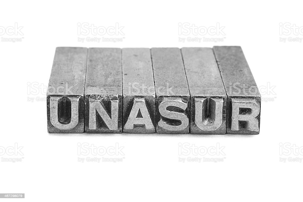 Unasur sign, antique metal letter type royalty-free stock photo