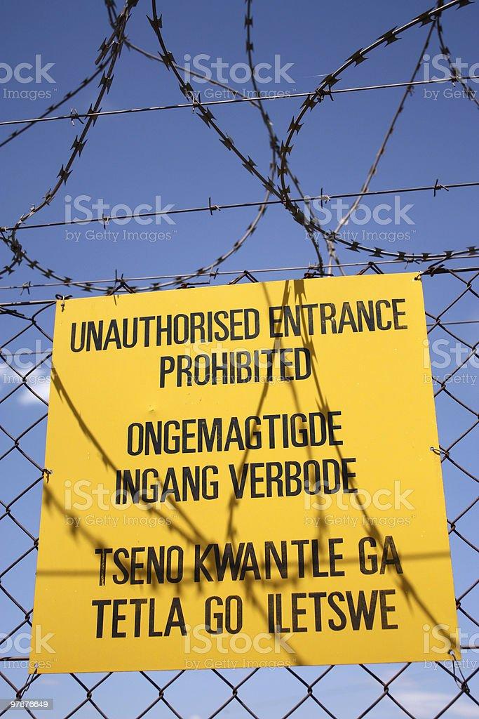 Unauthorised entrance prohibited royalty-free stock photo