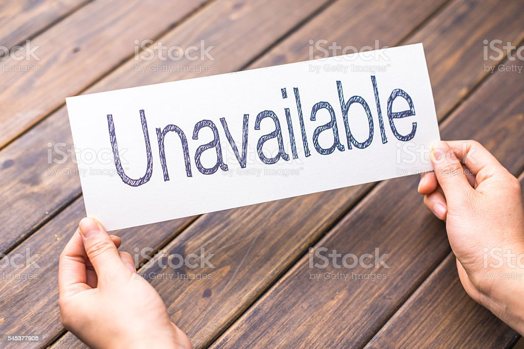 unavailable to available on white paper stock photo