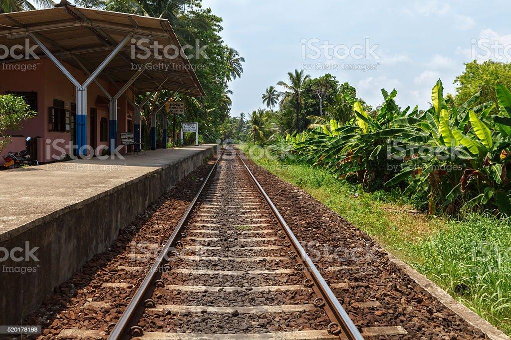 Unawatuna railway station, Sri Lanka stock photo