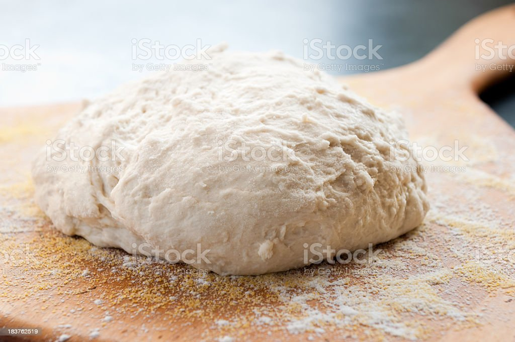Unbaked Boule Dough on Paddle stock photo