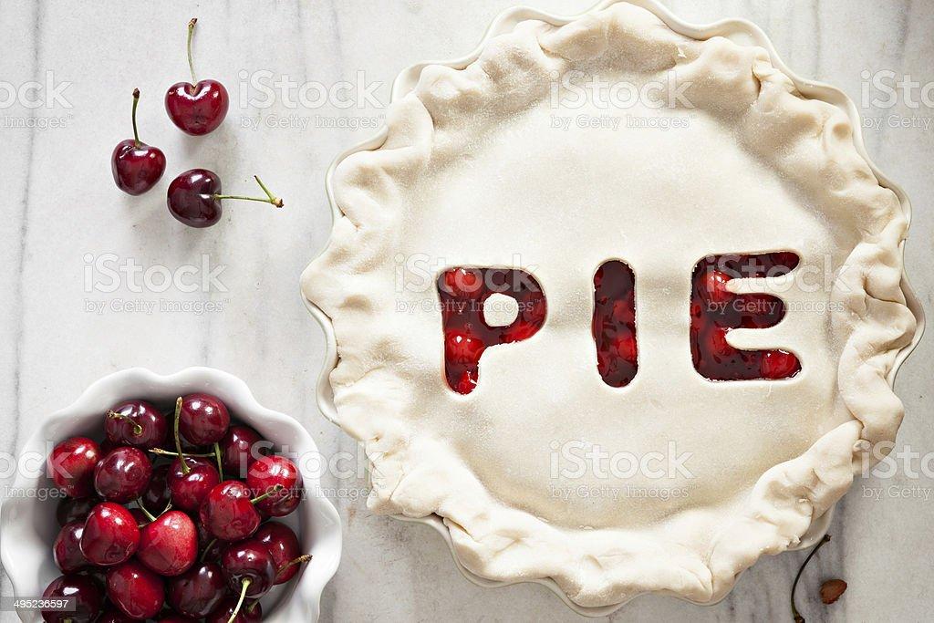 Unbaked Cherry Pie stock photo