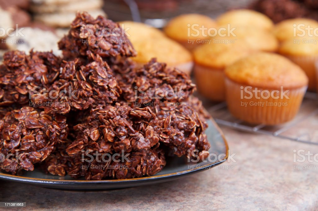 Unbaked Chocolate Cookies and Cupcakes stock photo