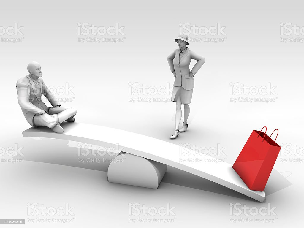 Unbalance Shopping and Man stock photo