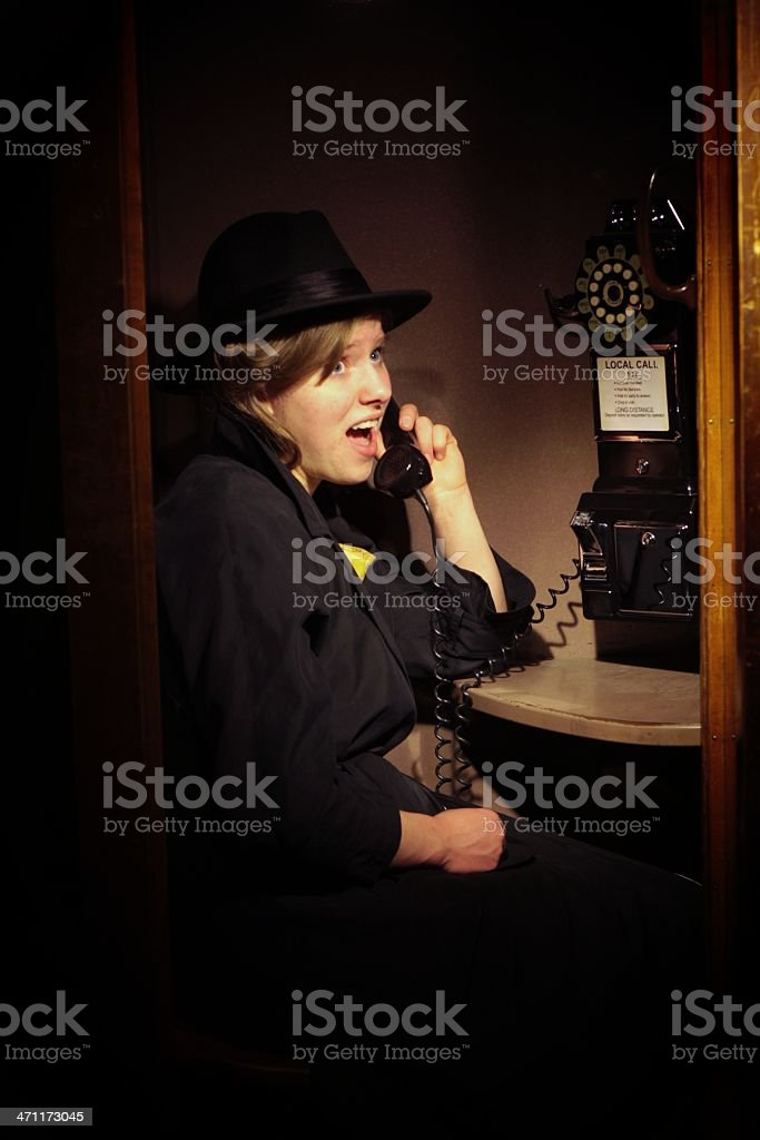 Unbelievably Frightening Phone Call stock photo
