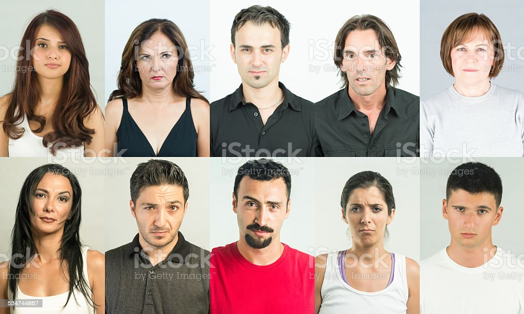 Unbelieving and suspicous people in dilemma and doubt. Collectio stock photo