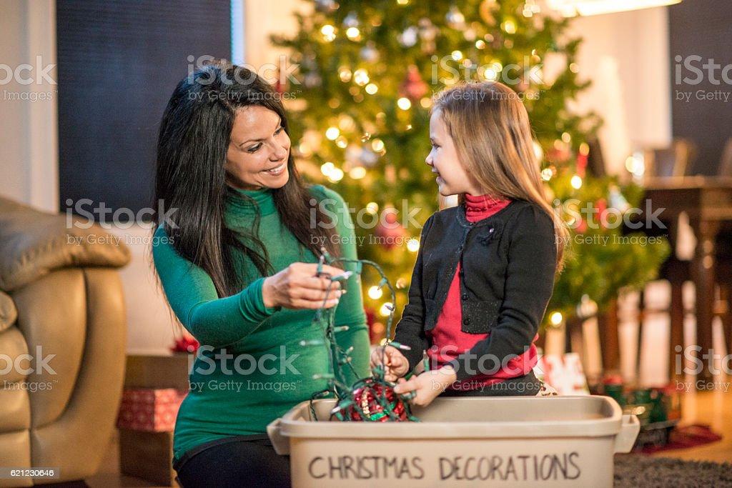 Un-boxing Christmas Decorations stock photo