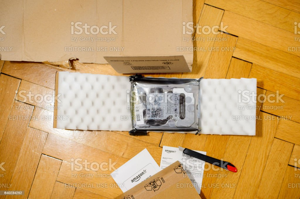 Unboxing computer drive stock photo
