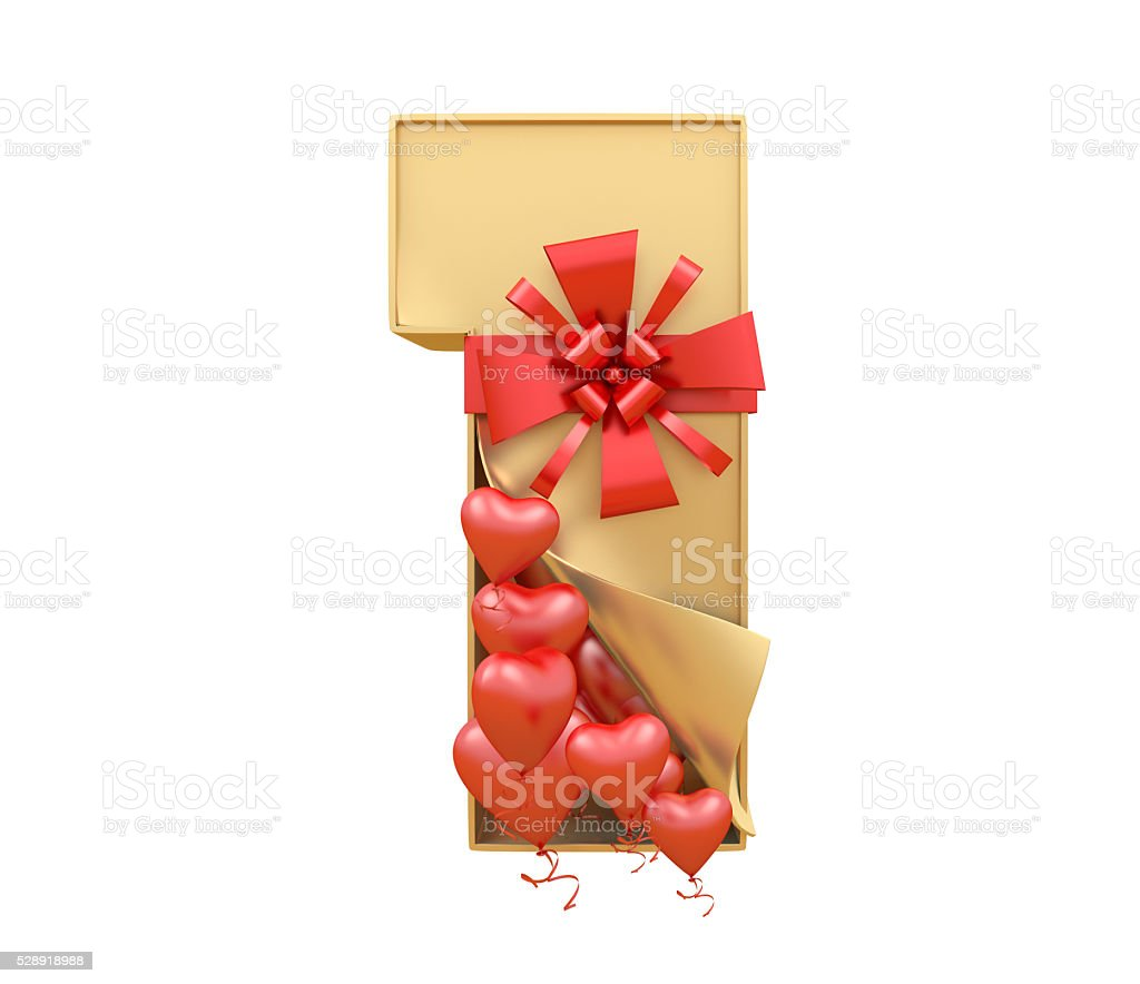 unboxing font  and ballon heart stock photo