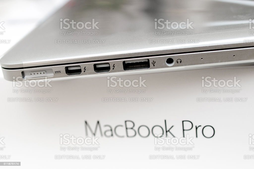 Unboxing of new Apple MacBook Pro stock photo