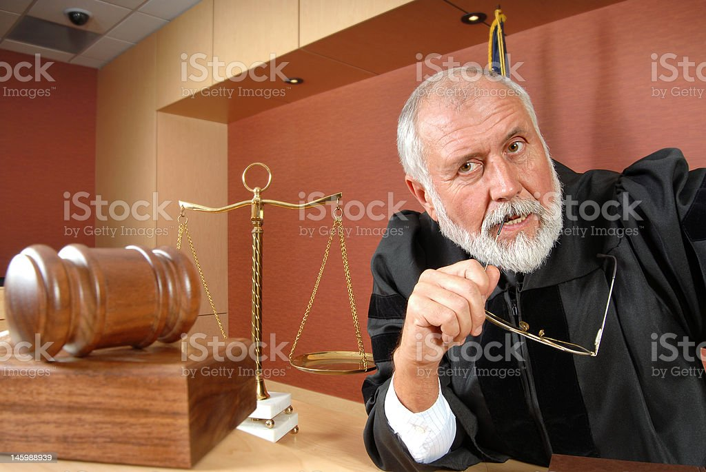Uncertain judge stock photo