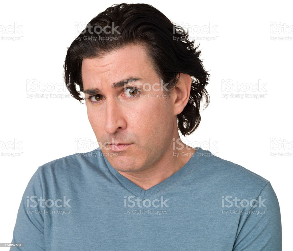 Uncertain Man Looking At Camera royalty-free stock photo