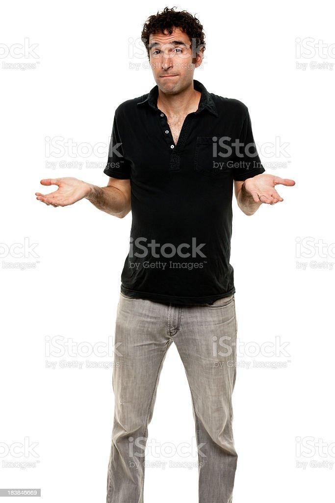 Uncertain Man Shrugging, Three Quarter Length stock photo