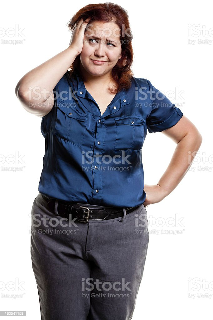 Uncertain Woman Rubbing Her Head royalty-free stock photo