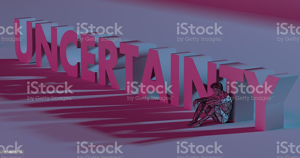 Uncertainty - 3d render lettering near low poly man illustration stock photo