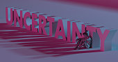 Uncertainty - 3d render lettering near low poly man illustration