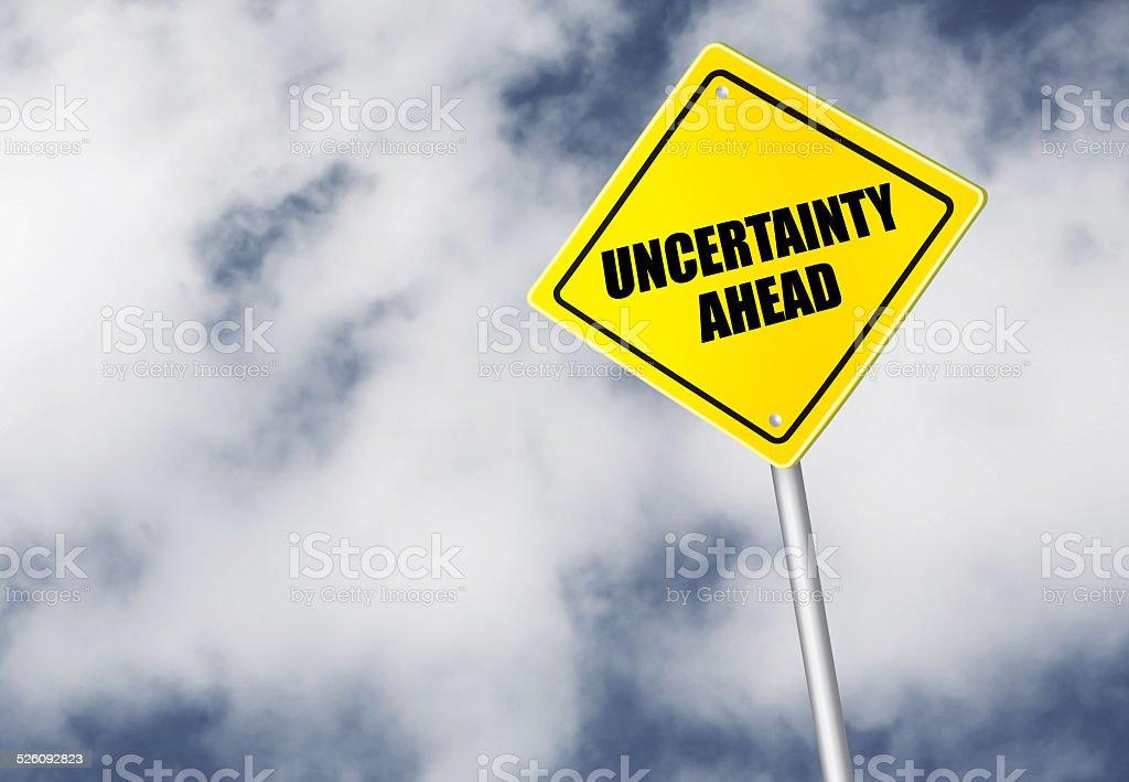 Uncertainty ahead sign stock photo