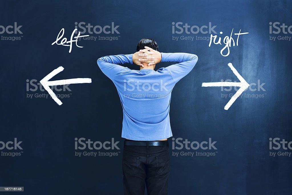 Uncertainty: man in doubt stock photo