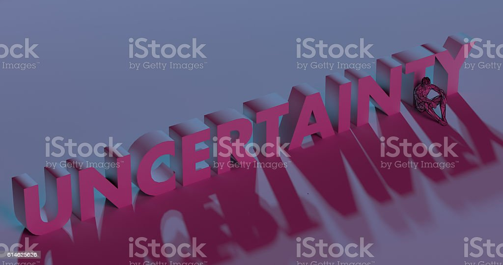 Uncertainty - red lettering text near sad man, 3d render stock photo