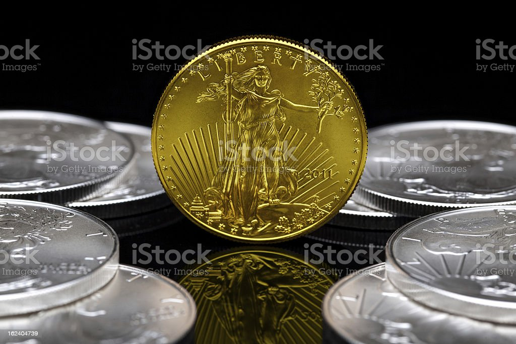 Uncirculated 2011 American Gold stock photo