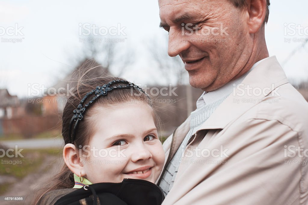 Uncle and niece stock photo