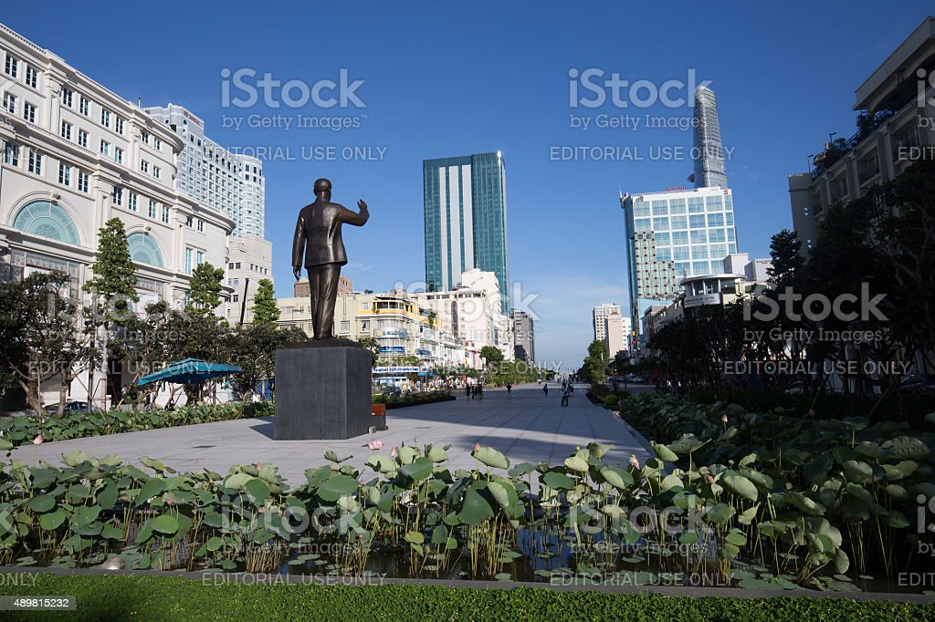 Uncle Ho statue at Nguyen Hue Pedestrian Street royalty-free stock photo