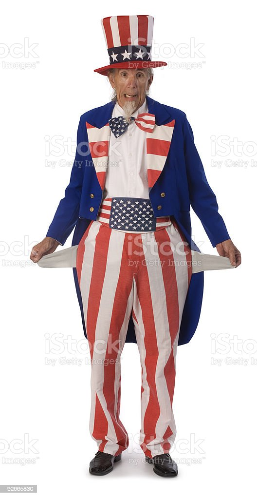 Uncle Sam Broke stock photo