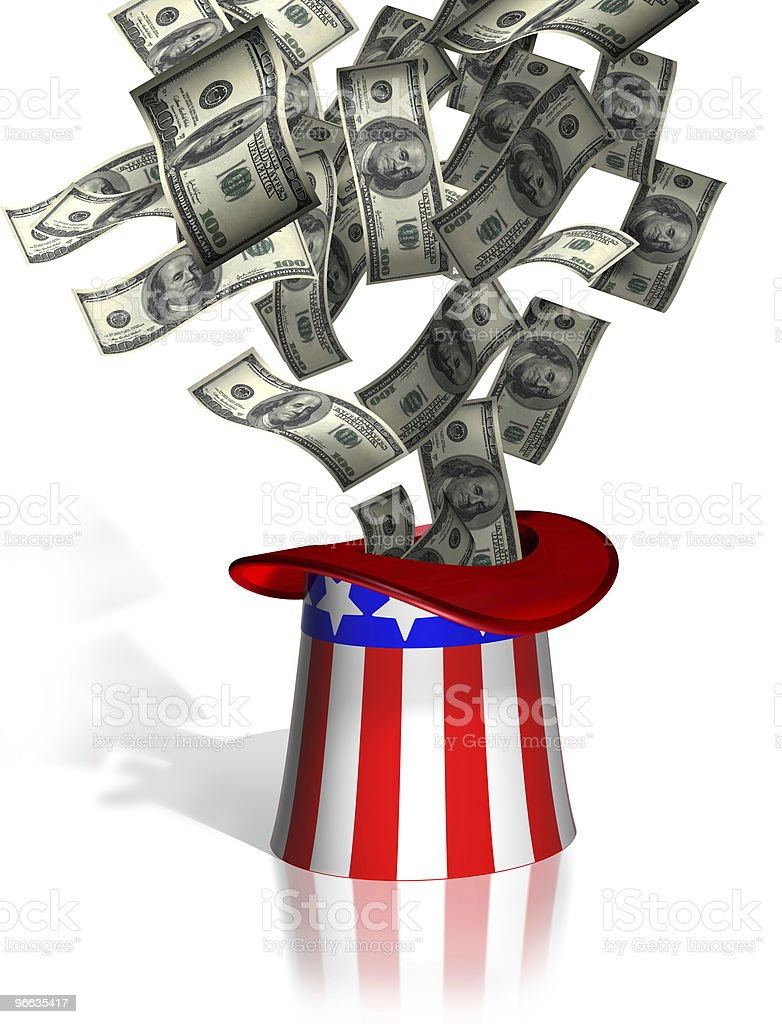 Uncle Sam collecting taxes stock photo