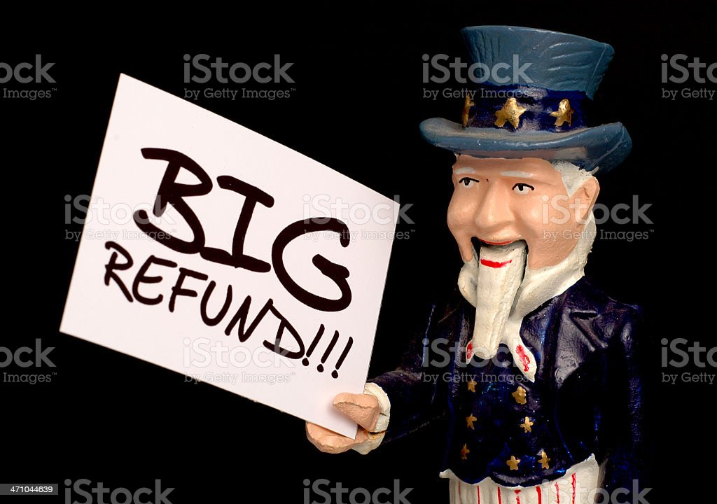 Uncle Sam Declaring a Big Tax Refund! stock photo