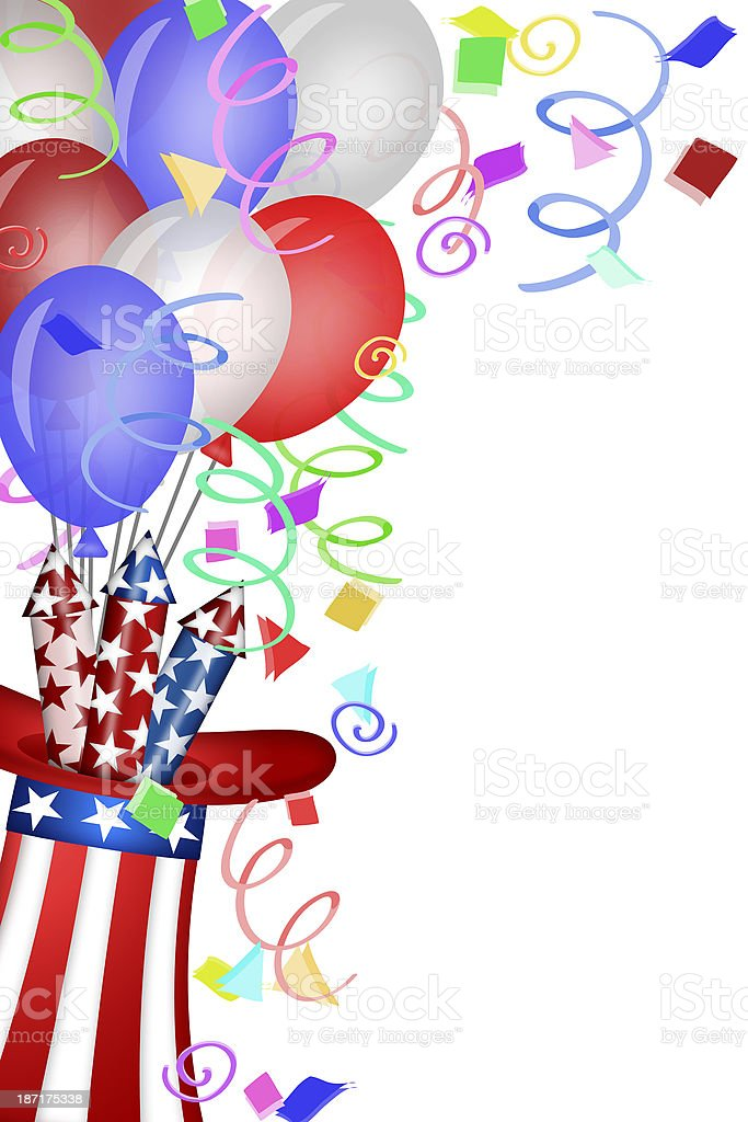 Uncle Sam Hat with Fireworks and Balloons royalty-free stock photo